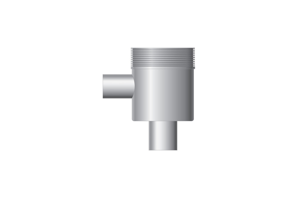 Vertical outlet, outlet 50 mm, inlet 40 mm for sink connection